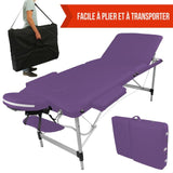 Table pliante de massage violette 3 zones en aluminium