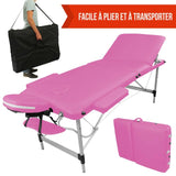 Table pliante de massage rose 3 zones en aluminium