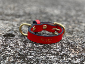 Last State Leather - XS Collar - Red/Black with Brass Hardware