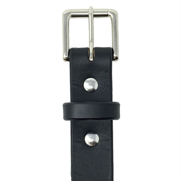 "Last State Leather - Mid 1.25"" Belt - Black/Nickel - Front"