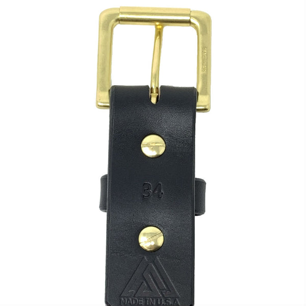 "Last State Leather - Paniolo 1.5"" Belt - Black/Brass - Back"