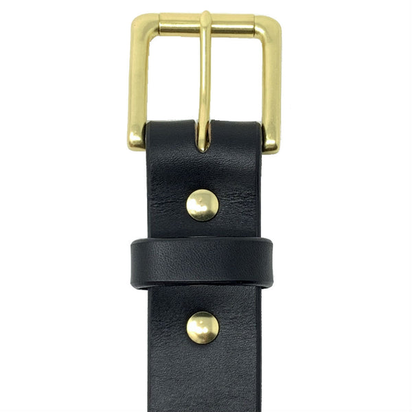 "Last State Leather - Paniolo 1.5"" Belt - Black/Brass - Front"