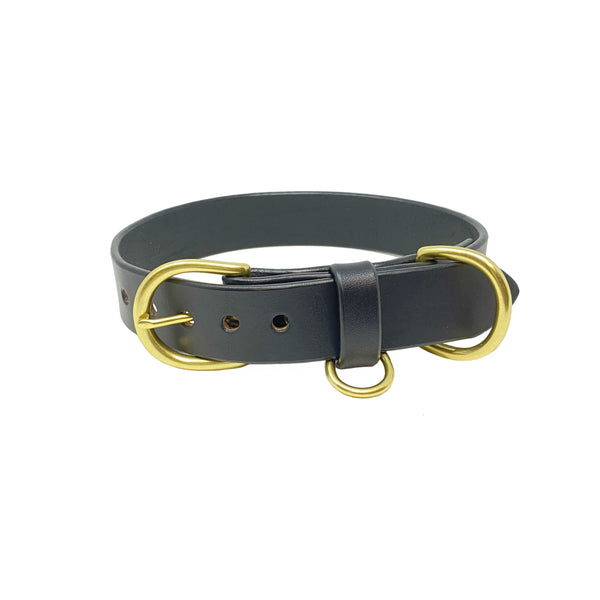 Last State Leather - Large Dog Collar - Black/Brass