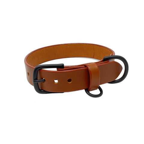 Last State Leather - Large Dog Collar - Chestnut/Black