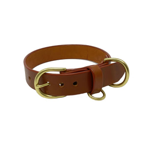 Last State Leather - Large Dog Collar - Chestnut/Brass