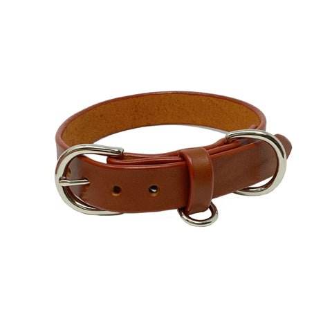 Last State Leather - Large Dog Collar - Chestnut/Nickel