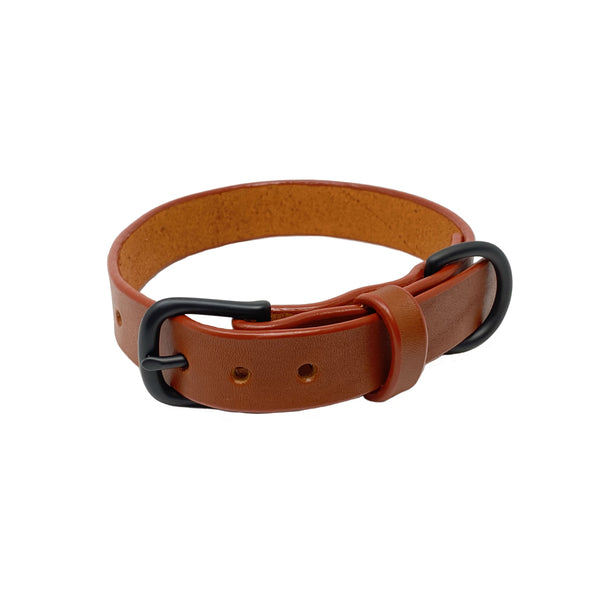 Last State Leather - Medium Dog Collar - Chetnut/Black