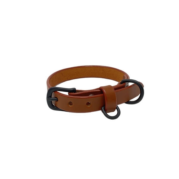 Last State Leather - Small Dog Collar - Chestnut/Black