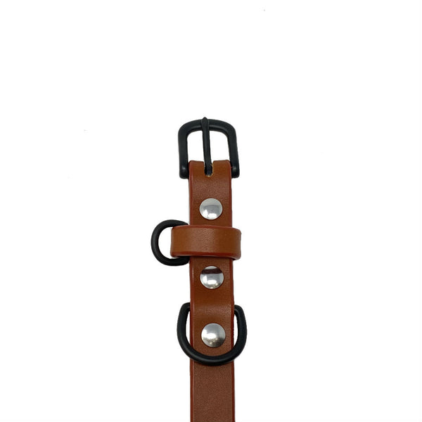 Last State Leather - Small Dog Collar - Chestnut/Black - Front