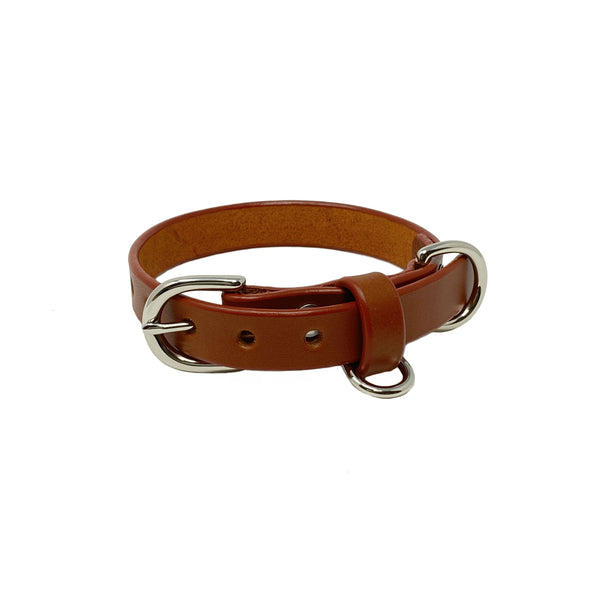 Last State Leather - Small Dog Collar - Chestnut/Nickel