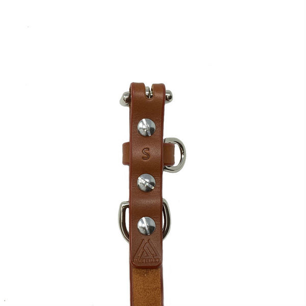 Last State Leather - Small Dog Collar - Chestnut/Nickel - Back