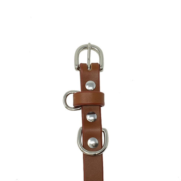 Last State Leather - Small Dog Collar - Chestnut/Nickel - Front