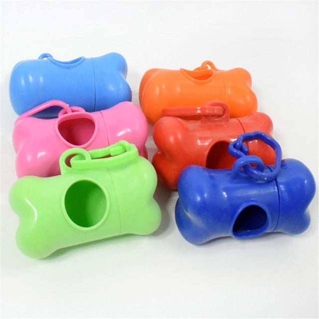 Pet Dog Bone Shape Waste Poo Garbage Dispenser Box Clean Up Bags Holder Case