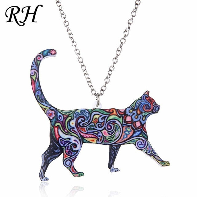Acrylic Animal Necklace - Cat Dragon Pig Bird Wolf Horse Fish Dog