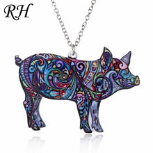 Load image into Gallery viewer, Acrylic Animal Necklace - Cat Dragon Pig Bird Wolf Horse Fish Dog