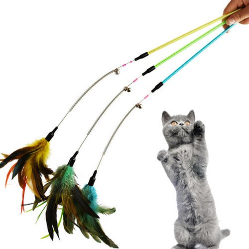 Funny Feather Spring Kitten Cat Toy Feather Rod Teaser Bell Bead Play Pet Wand Teasing with Colored Beads freeshipping JSX