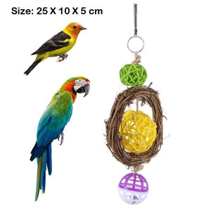 Lovely Rattan Ball Pet Parrot Bird Toys Chewing Climbing Swing Toys for Parrots Cage Stairs Windchimes Funny Bell Bird Play Toys
