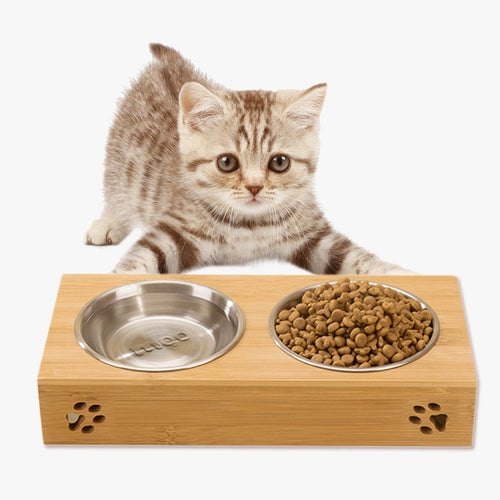 Single/Double Pet Dog Bowl Stainless Steel Pet Bowl Bamboo Bottom Food Water Dual-use Feeding Dish Pet Supplies