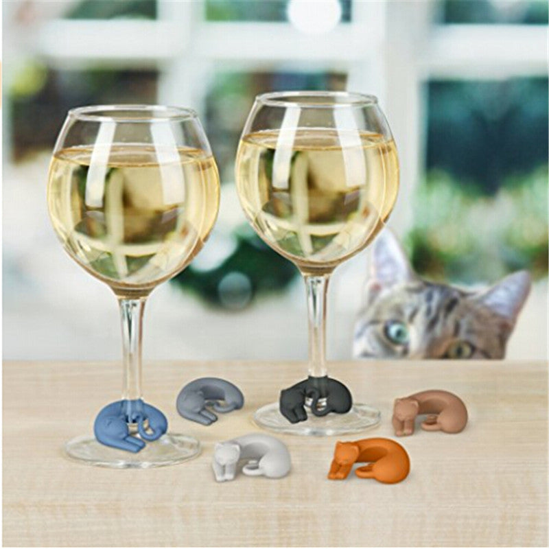 DoreenBeads 6PCs Party Silicone Cup Cat Wine Glass Charms Gifts Label Glasses Marker Sticker New Year Festival Wedding Dropship