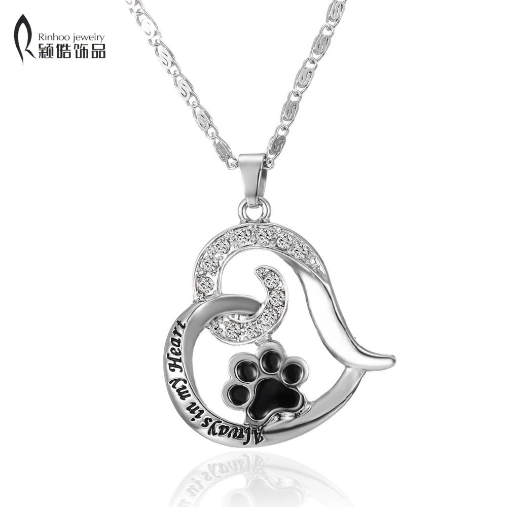 Always in my Heart dog lover Cat Foot paw print heart necklace