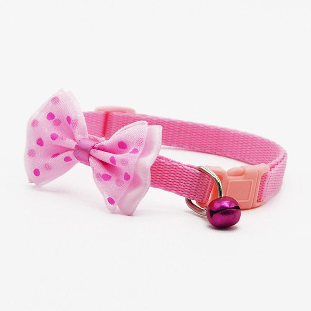 Adjustable Polyester Dog Collars Pet Collars With Bowknot Bells Charm Necklace Collar For Little Dogs Cat Collars Pet Supplies