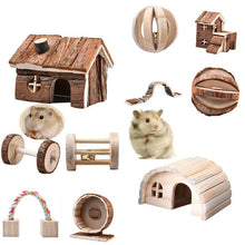 Load image into Gallery viewer, Hot Sale Natural Pine Dumbells Unicycle Bell Roller Chew Toy For Guinea Pigs Rat Rabbits Small Kitten Puppy Small Wooden Pet Toy