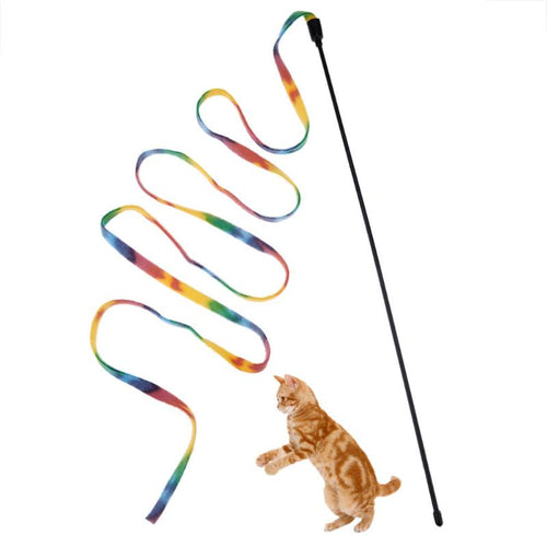 Cat Toys Cute Funny Colorful Rod Teaser Wand Plastic Pet Toys for Cats Interactive Sticks