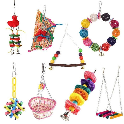 Pet Bird Toys Parrot Toys Parakeet Budgie Cockatiel Bird Cage Hammock Swing Climb Ladder Hanging Chew Toys For Birds Parrots