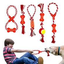 Load image into Gallery viewer, Cotton Pet Dog Rope Chew Tug Toy Knot Bone Ball Shape Pets Palying Teeth Cleaning Toys For Small Medium Large Dogs 5 Types