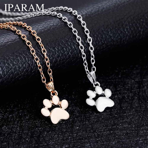 IPARAM Fashion Cute Pets Dogs Footprints Paw Chain Pendant Necklace