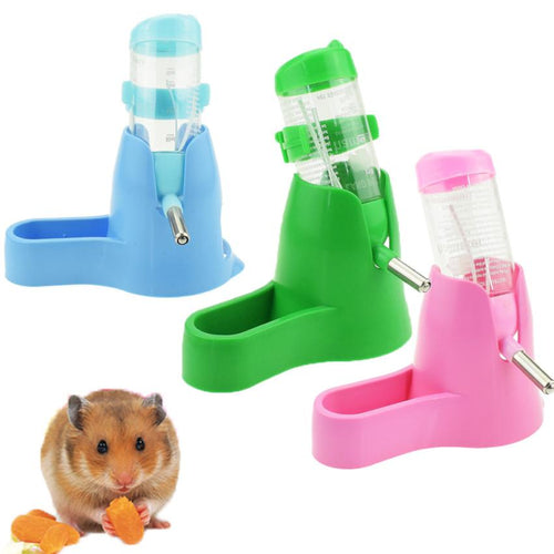 Pet Rodent Mice Jogging Hamster Gerbil Rat Toy 3 in 1 Hamster Water Bottle Holder 80ML Dispenser With Base Hut Small Pet Nest