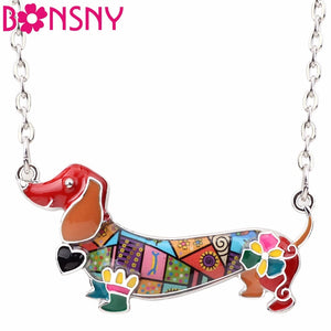 Bonsny Enamel Pet Dachshund Dog Choker Necklace