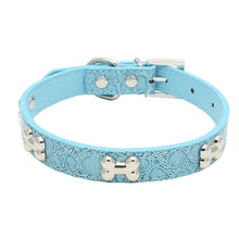 Load image into Gallery viewer, Transer Pet Dog Supplies Alligator PU Leather Bone Pet Necklace Accessory Pet Supply Dog Collar For Small Medium Dog 80124