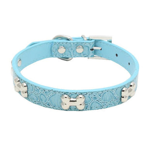 Transer Pet Dog Supplies Alligator PU Leather Bone Pet Necklace Accessory Pet Supply Dog Collar For Small Medium Dog 80124
