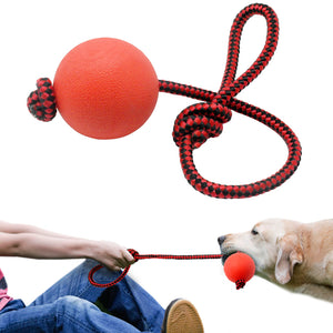 Solid Rubber Dog Chew Toy With Tug Rope Handle