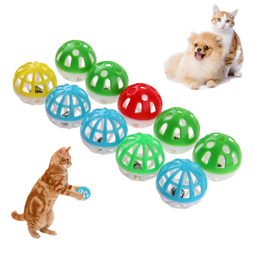 10pcs/set Plastic Hollow Out Round Pet Colorful Playing Ball Toys With Small Bell