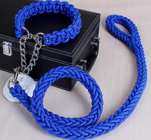 Load image into Gallery viewer, Double Strand Rope Large Dog Leashes Metal P Chain Buckle National Color Pet Traction Rope Collar Set For Big Dogs 1.2m Length