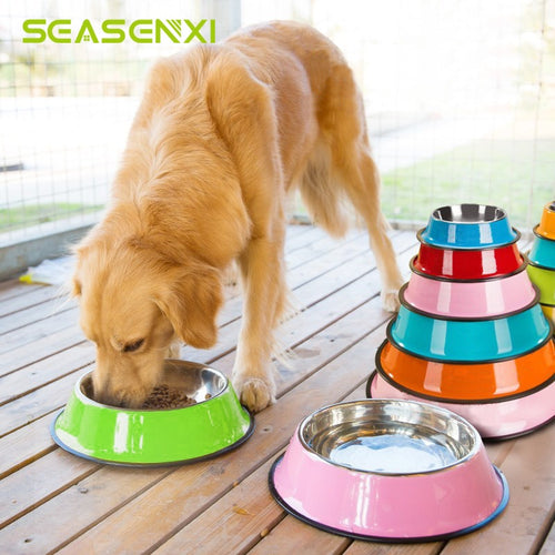 4 Size Stainless Steel Color Spray Paint Pet Bowls Non-slip