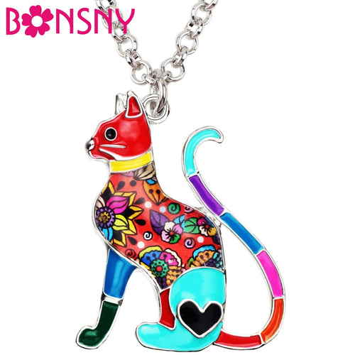 Bonsny Enamel Alloy Elegant Floral Kitten Cat Necklace