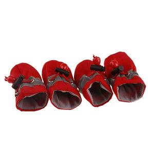 4Pcs/set Pet Dogs Winter Shoes Rain Snow Waterproof Booties Socks Rubber Anti-slip Shoes For Small Dog Puppies Footwear Cachorro