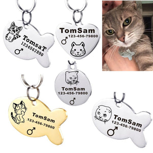 Personalized Engraved Cat Name Tag Anti-lost Stainless Steel Dog Tag For Cat Collar Accessory Customized Pet ID Tags