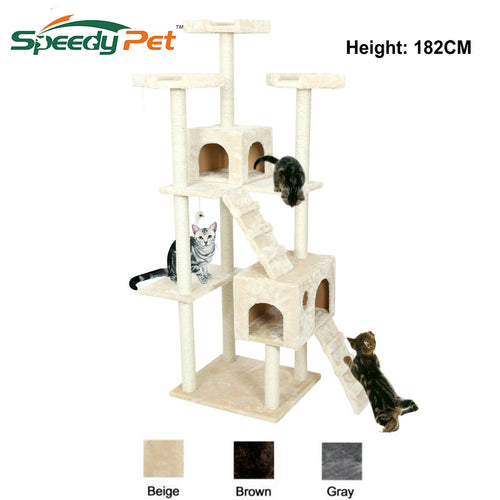 Domestic Delivery H182cm Cat Tree Tower Condo Furniture Scratch Post Cat Jumping Toy with Ladder for Kittens Pet House Play