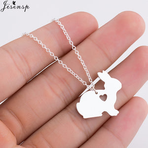 Jisensp Lovely Rose Gold Pet Bunny Rabbit Necklaces