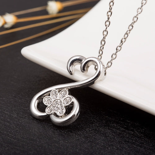 Teamer 2018 New Fashion Dog Footprints With Crystal Choker Necklace Paw Pendant Jewelry