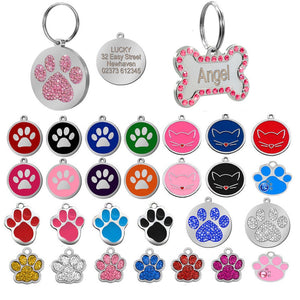 Dog Tag Engraved Custom Pet Dog Collar Accessories Personalized Cat Puppy ID Tag Stainless Steel Bone Paw Name Tags Anti-lost