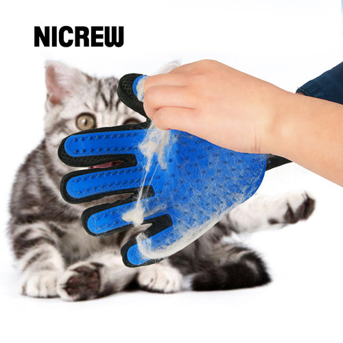 Nicrew Glove For Cats Cat Grooming Pet Dog Hair Deshedding Brush Comb Glove For Pet Dog Finger Cleaning Massage Glove For Animal