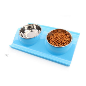 Pet dog food bowl stainless steel dog Bowl Puppy Cat Bowl Water Food Storage Feeder Non-toxic PP Resin Combo Rice Basin 3 Colors