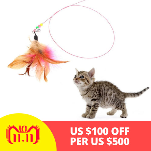 Pet cat toy,Hot,Cute Design,Plastic,Steel Wire,Feather Teaser Wand,Toy for cats interactive,Products For pet,110cm,Free shipping