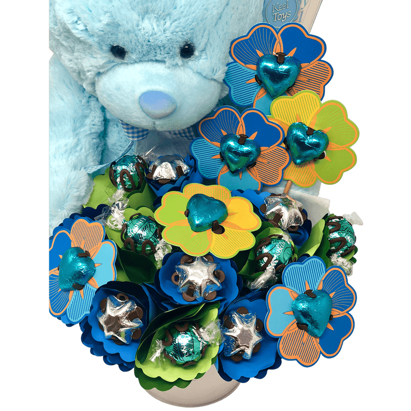 Blue Cuddles and Chocolate Bouquet