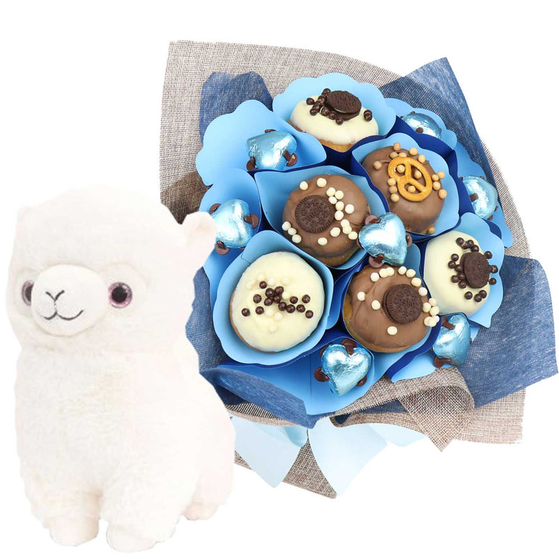 Baby Blue Llama Donut Bouquet - central London only